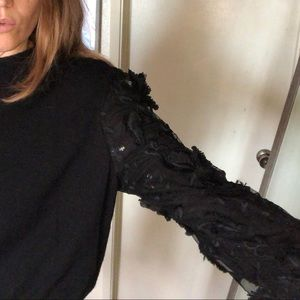 NEW Joseph A black lace sleeve pullover sweater